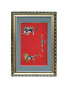 Antiques Chinese Foo Dog Playing Fireball Embroidery Painting Wall Decor S1656