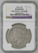 1928 1 Peace Silver Dollar Ngc Certified Xf Details Coin