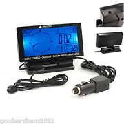 Versatility Lcd Display Car Suv Dashboard Compass Thermometer Clock Gauge Meter