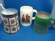 Lot Of Three Antique German Beer Mugs Different Color And Brand Nice