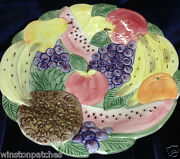 Fitz And Floyd Calypso Fruit 12 1/2 Round Vegetable Serving Bowl Tropical Fruits