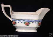 Wedgwood England 1991 Trellis Rose Gravy Boat 12 Oz Blue And Pink Floral On White
