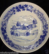 Wedgwood England Bowdoin College Blue Round Serving Bowl Sesquicentennial