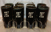 Van Briggle 8 Stoneware Tumbler Set Art-n-eva Goldtone Metal Carrying Case Rack