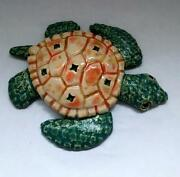 Crain Art Studio Ceramic Fired Hatchling Sea Turtle Turquoise, Orange,Cream