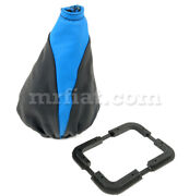 Fiat 500 600 Black Blue Leather Gearshift Cover New