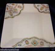 Pier 1 Nisa Square Platter 10 3/8 Cream With Hand Painted Multi-color Design