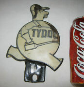 Antique Usa Tin Metal Sign Tydol Gas Oil Tool Can Man License Plate Topper Art