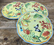 Dept 56 French Provencal Fruit Bugs Butterfly Yellow 3 Salad Luncheon Plates