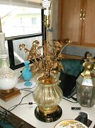 Best Rare Italian Florentine Murano Glass Floral Bouquet Table Lamp Hollywood R