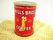 Vintage Hills Bros Brothers Coffee Can Half Pound 1/2 Lb Tin With Lid