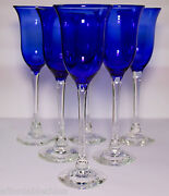 Charles Correll Studio Art Glass Blue Clear Tall Goblet Goblets Stems Set Of 6-a