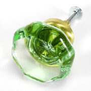 Cabinet Knobs Green Drawer Handles And Brass Vintage Glass Pulls T63