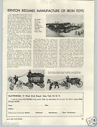 1949 Paper Ad Article Kenton Cast Iron Toys Overland Circus Sand And Gravel Plant