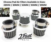 Short Chrome Clamp On Air Filter Cleaner Pod Tomos Sachs Scooter Moped Washable