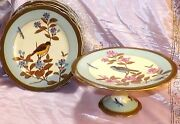 Fine 19th Century Bird And Bug Series German Show Plates W/ Compote High Quality