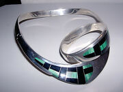 Heavy 950 Sterling Silver Stone Inlay Collar Necklace And Bangle Bracelet Set212g