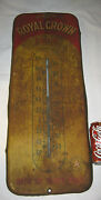 Antique Royal Crown Soda Metal Glass Country Store Soda Bottle Sign Thermometer