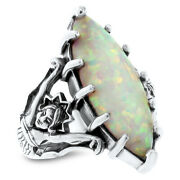Goddess Ring White Lab Opal Victorian 925 Sterling Silver Size 8,      615