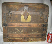 Antique Country Primitive American Wood Cast Iron Hardware Chest Trunk Art Table