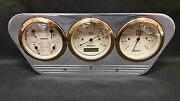 1953 1954 1955 Ford Truck 3 Gauge Dash Panel Insert Quad Style 3 3/8 Pro Gold