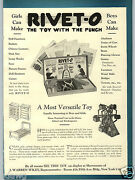 1928 Paper Ad Rivet-o Punch Toy Ferris Wheel Russell's Mold More Soldiers Derby
