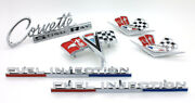 New 6-pc Complete Body Emblem Set / For Late 1963 And 1964 C2 Corvette W/injection