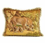 Aubusson Pillow Cover | Handwoven French Goblelins Weave 22x28 Leopard And Cubs