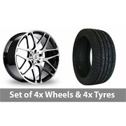 4 X 20 Bk Racing 170 Black Polished Alloy Wheel Rims And Tyres - 255/50/20