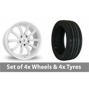 4 X 18 Bk Racing 201 White Polished Alloy Wheel Rims And Tyres - 235/45/18