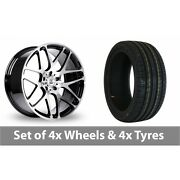 4 X 18 Bk Racing 170 Black Polished Alloy Wheel Rims And Tyres - 225/45/18