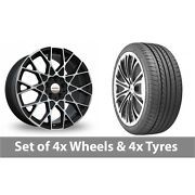 4 X 19 Speedline Cesare Black Polished Alloy Wheel Rims And Tyres - 265/35/19
