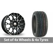 4 X 19 Speedline Cesare Black Polished Alloy Wheel Rims And Tyres - 235/50/19