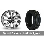 4 X 19 Wolfrace Lugano Shadow Chrome Alloy Wheel Rims And Tyres - 235/35/19