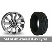 4 X 19 Wolfrace Lugano Shadow Chrome Alloy Wheel Rims And Tyres - 255/35/19