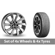 4 X 19 Wolfrace Lugano Shadow Chrome Alloy Wheel Rims And Tyres - 255/45/19