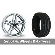 4 X 16 Wolfrace Poison Silver Alloy Wheel Rims And Tyres - 225/50/16