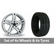 4 X 18 Wolfrace Bavaro Silver Alloy Wheel Rims And Tyres - 245/50/18