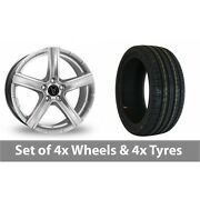 4 X 19 Wolfrace Quinto Silver Alloy Wheel Rims And Tyres - 225/40/19