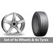 4 X 19 Wolfrace Quinto Silver Alloy Wheel Rims And Tyres - 225/45/19