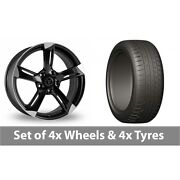 4 X 20 Wolfrace Genesis Black Polished Alloy Wheel Rims And Tyres - 275/45/20