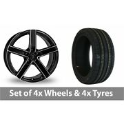 4 X 18 Wolfrace Emotion Black Polished Alloy Wheel Rims And Tyres - 255/45/18