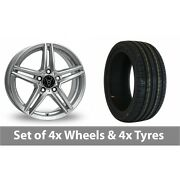 4 X 19 Wolfrace M10 Silver Alloy Wheel Rims And Tyres - 225/40/19