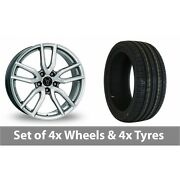 4 X 17 Wolfrace Torino Silver Alloy Wheel Rims And Tyres - 215/45/17