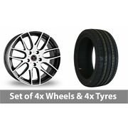 4 X 18 Wolfrace Munich Black White Alloy Wheel Rims And Tyres - 215/35/18