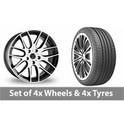 4 X 20 Wolfrace Munich Black White Alloy Wheel Rims And Tyres - 275/35/20
