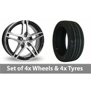 4 X 15 Dezent Rb Black Polished Alloy Wheel Rims And Tyres - 185/60/15