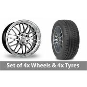 4 X 19 Calibre Spur Black Polished Alloy Wheel Rims And Tyres - 265/30/19