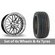 4 X 19 Calibre Spur Black Polished Alloy Wheel Rims And Tyres - 235/50/19