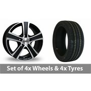 4 X 18 Calibre Highway Black Polished Alloy Wheel Rims And Tyres - 245/45/18